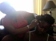 Mommsy doin my hair :)