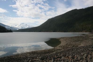 Half-frozen lake