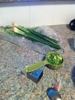 Cutting up some green onion.