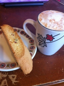 Biscotti and soy chai latte